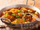 Рецепта Яхния с телешко варено-задушено месо, картофи и моркови